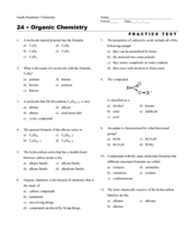 Organic Chemistry Practice Test Worksheet for 10th - Higher