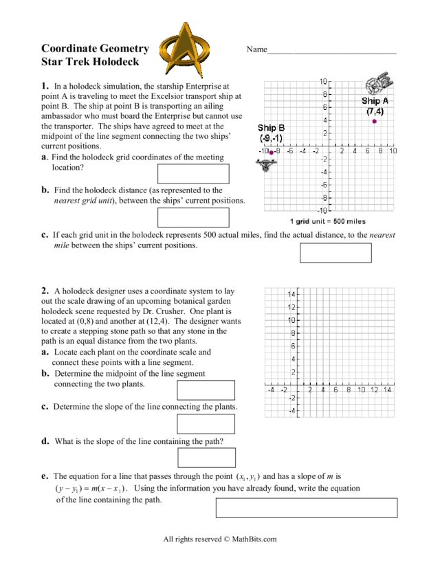 Coordinate Geometry Star Trek Holodeck 8th 10th Grade Worksheet – Coordinate Geometry Worksheet