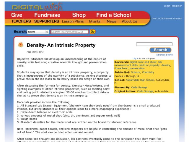 Density - An Intrinsic Property Lesson Plan