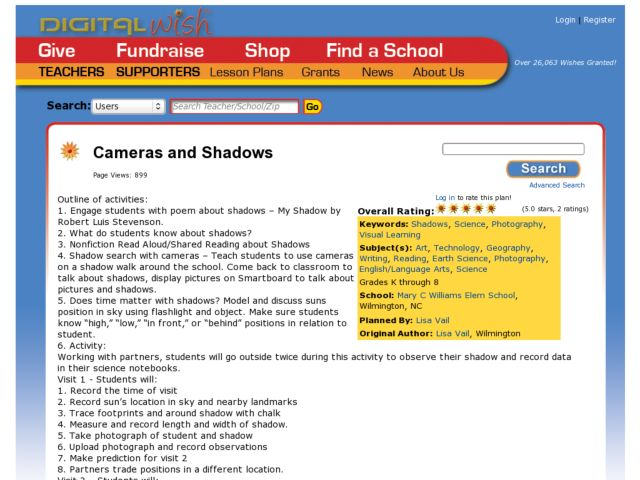 Cameras and Shadows Lesson Plan