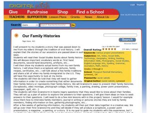 Our Family Histories Lesson Plan