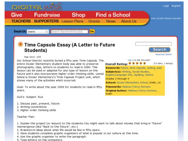 Time Capsule Essay Lesson Plan For Nd  Th Grade  Lesson Planet