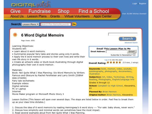 Six Word Memoir Worksheet