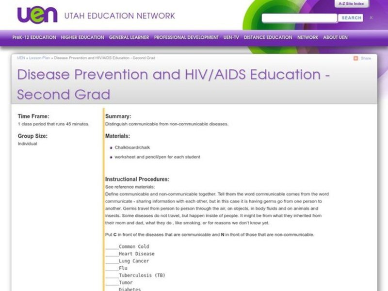 Disease Prevention and HIV/AIDS Education Lesson Plan