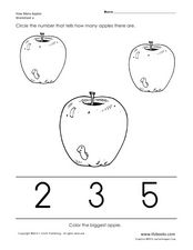 How Many Apples? Counting Apples Worksheets 3, 4, 5, 6 Worksheet