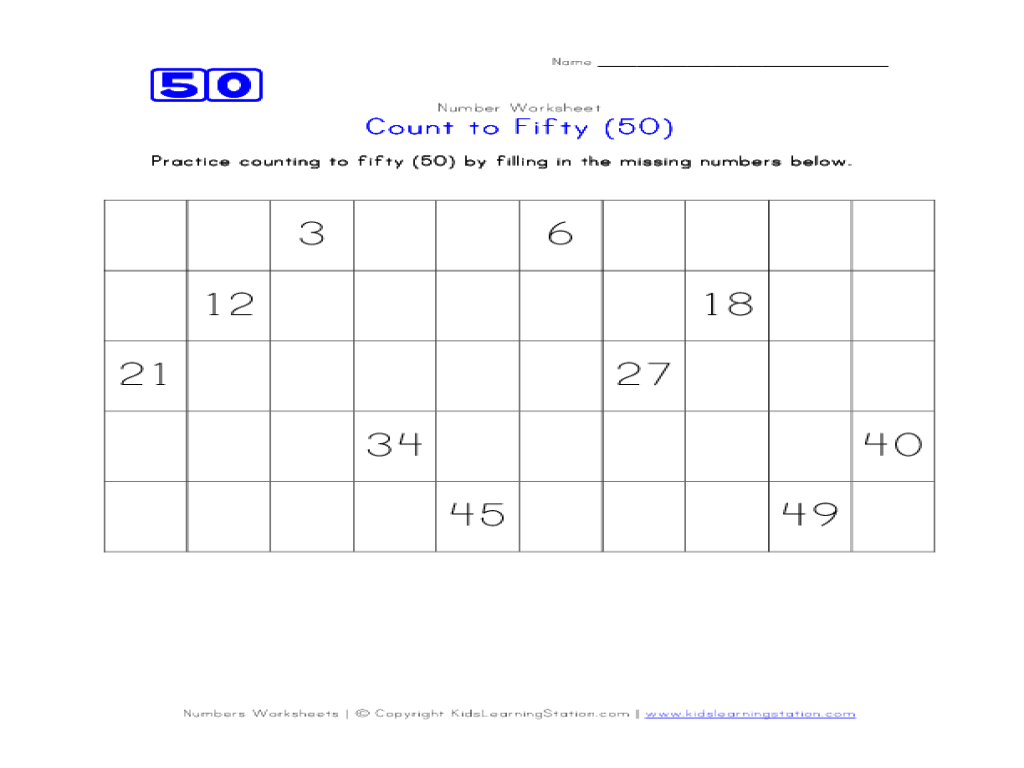 Count To 50 Worksheet For 1st - 2nd Grade