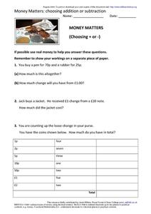 Money Matters: Choosing Addition or Subtraction Worksheet