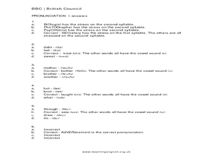 Vocabulary Skills: Pronunciation Worksheet