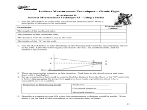 Indirect Measurement Techniques-- Grade Eight Lesson Plan
