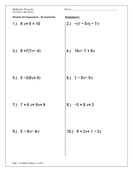 Distributive Property: Combine Like Terms Worksheet for 7th ...