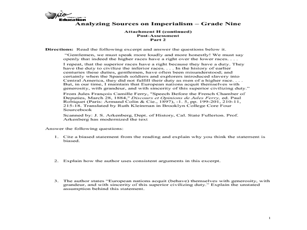 Analyzing Sources on Imperialism Lesson Plan Analyzing Sources on  Imperialism Lesson Plan