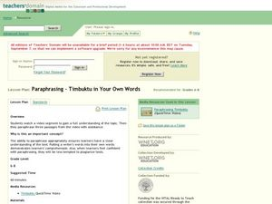 Paraphrasing-Timbuktu in Your Own Words Lesson Plan