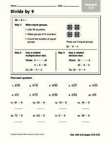 Divide by 9 Worksheet