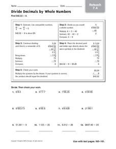 Divide Decimals by Whole Numbers Worksheet