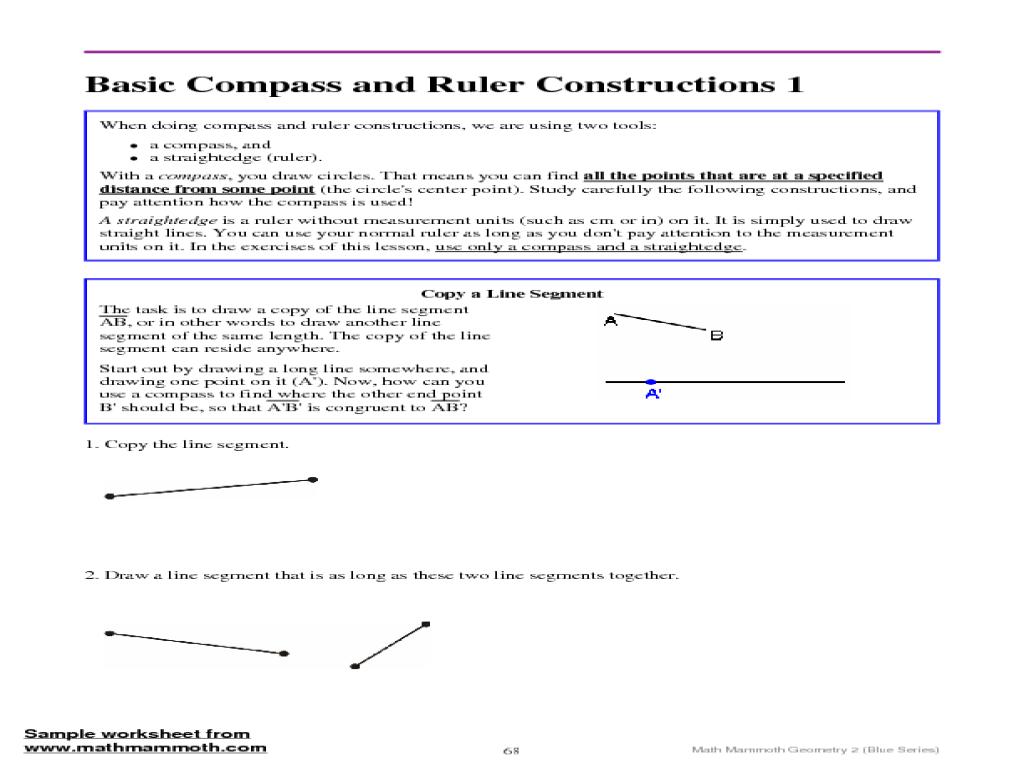Worksheets Line Segment Worksheets basic compass and ruler construction line segment 8th 11th grade worksheet lesson planet