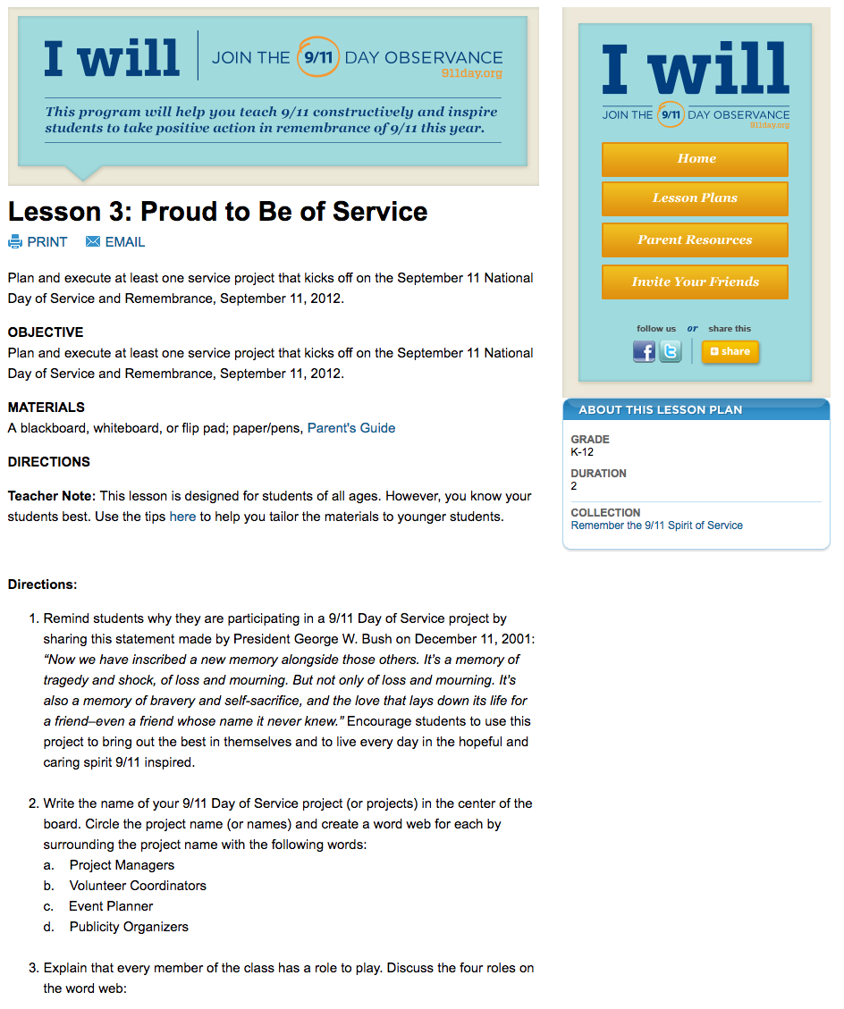 Proud to Be of Service Lesson Plan