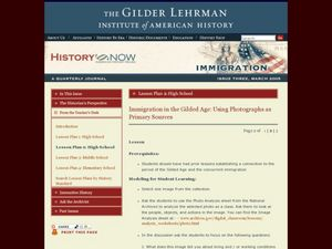 Immigration in the Gilded Age: Using Photographs as Primary Sources Lesson Plan