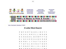 6 Letter Word Search Worksheet