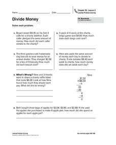 Divide Money Worksheet