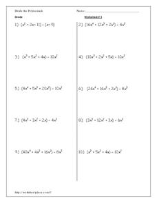Divide Polynomials Worksheet