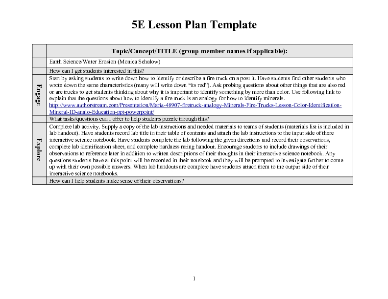 5E Lesson Plan Template: Earth Science/Water Erosion 4th Grade ...