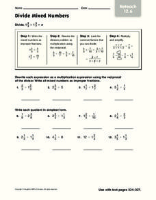 Divide Mixed Numbers Worksheet