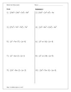 Divide the Polynomials Worksheet