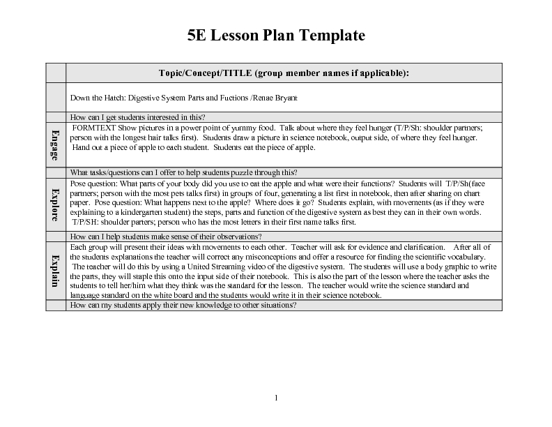Contemporary Eats Lesson Plan Template Mold Professional Resume