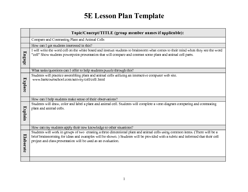 Compare and Contrast Plant and Animal Cells 5th 6th Grade Lesson – Comparing Plant and Animal Cells Worksheet