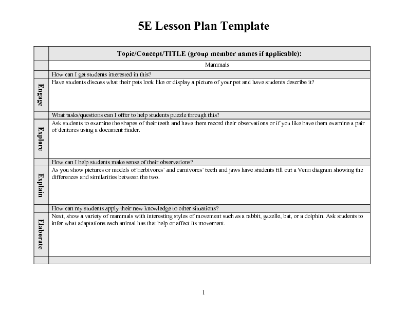 5E Lesson Plan Template – Blank Calendars 2017