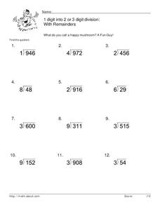 Divide with Remainders Worksheet