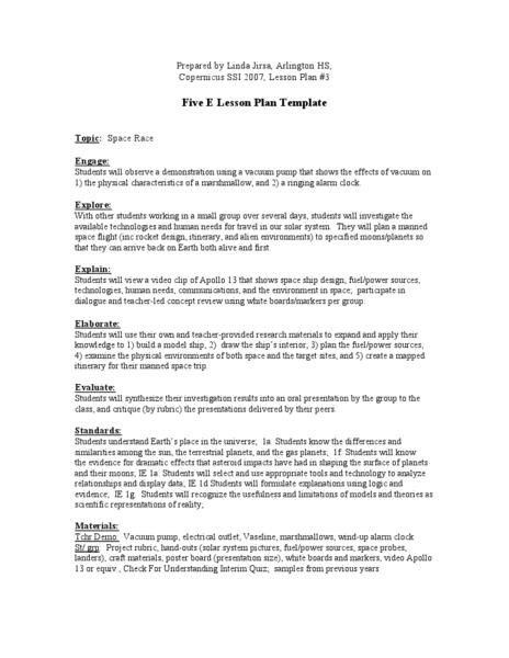 Space Race Lesson Plans Worksheets Lesson Planet