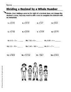 Dividing a Decimal by a Whole Number Worksheet
