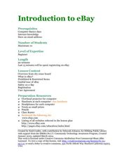 Introduction to eBay Lesson Plan
