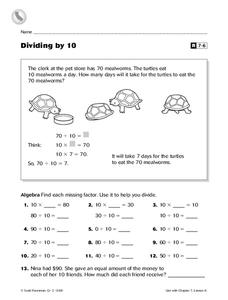 Dividing by 10 Worksheet