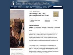Early Colonial Labor Force: Indentured Servants and Slaves Lesson Plan