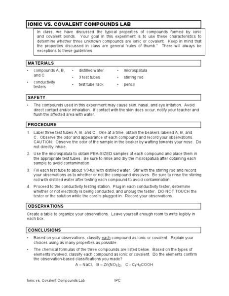 Ionic Vs Covalent Compounds Lab Worksheet For 9th 12th