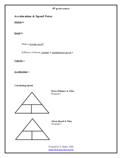 Acceleration and Speed Notes Worksheet for 8th Grade