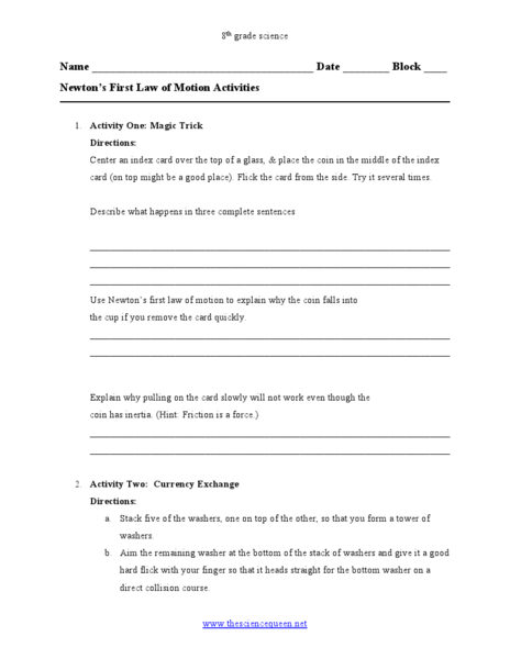 Newton 39 S First Law Of Motion Activities Worksheet For 8th