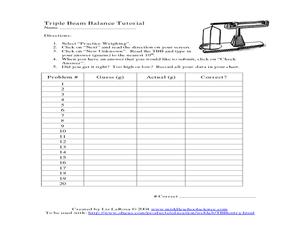 Triple Beam Balance Tutorial 3rd - 4th Grade Worksheet | Lesson Planet