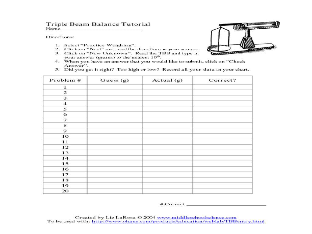 Triple Beam Balance Tutorial Worksheet For 3rd 4th Grade