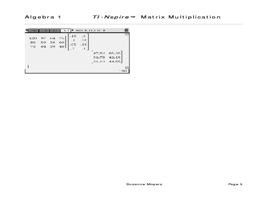 Scalar Multiplication Of A Matrix Lesson Plans Worksheets