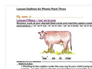 """Ow"" as in Cow Lesson Worksheet"