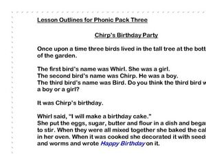 Chirps Birthday Party Reading Comprehension Worksheet for 1st