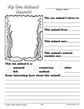 my sea animal report worksheet for 2nd 3rd grade lesson planet. Black Bedroom Furniture Sets. Home Design Ideas