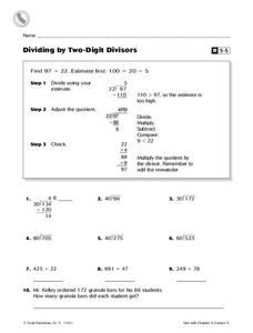 Dividing by Two-Digit Divisors Worksheet
