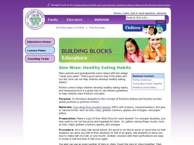 Size-Wise:Healthy Eating Habits Lesson Plan