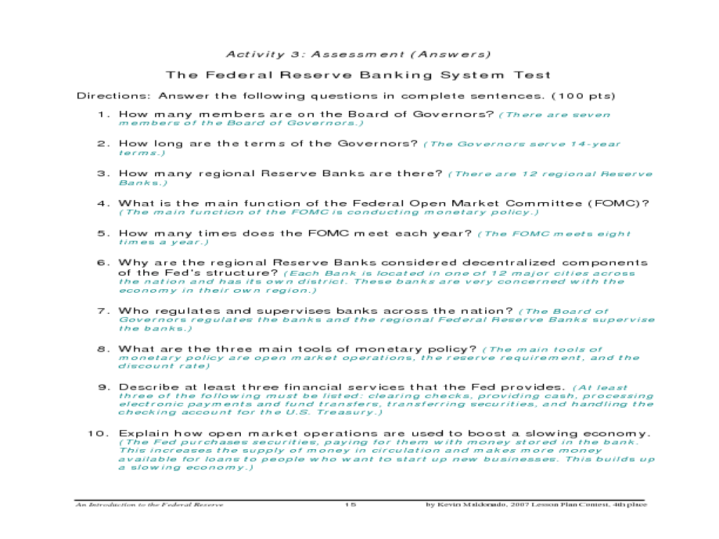 An Introduction to the Federal Reserve Lesson Plan for 9th