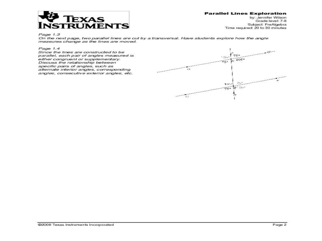 Parallel Lines Exploration with TI-nspire Lesson Plan for