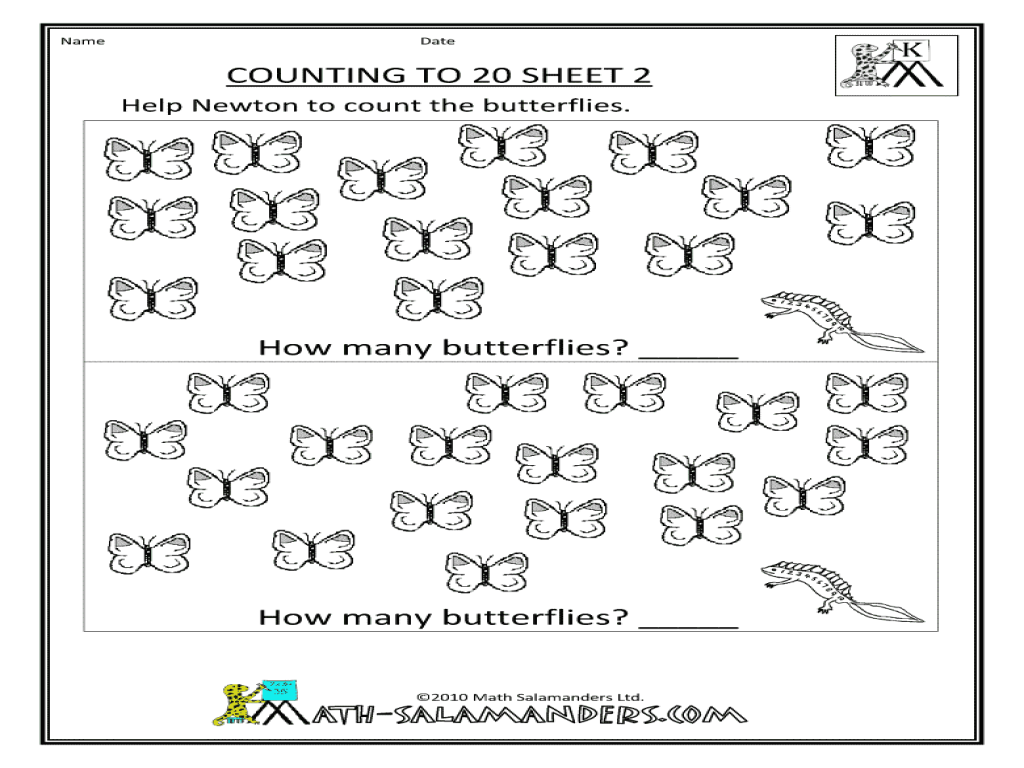 Recognizing Numbers 1 20 Lesson Plans Worksheets